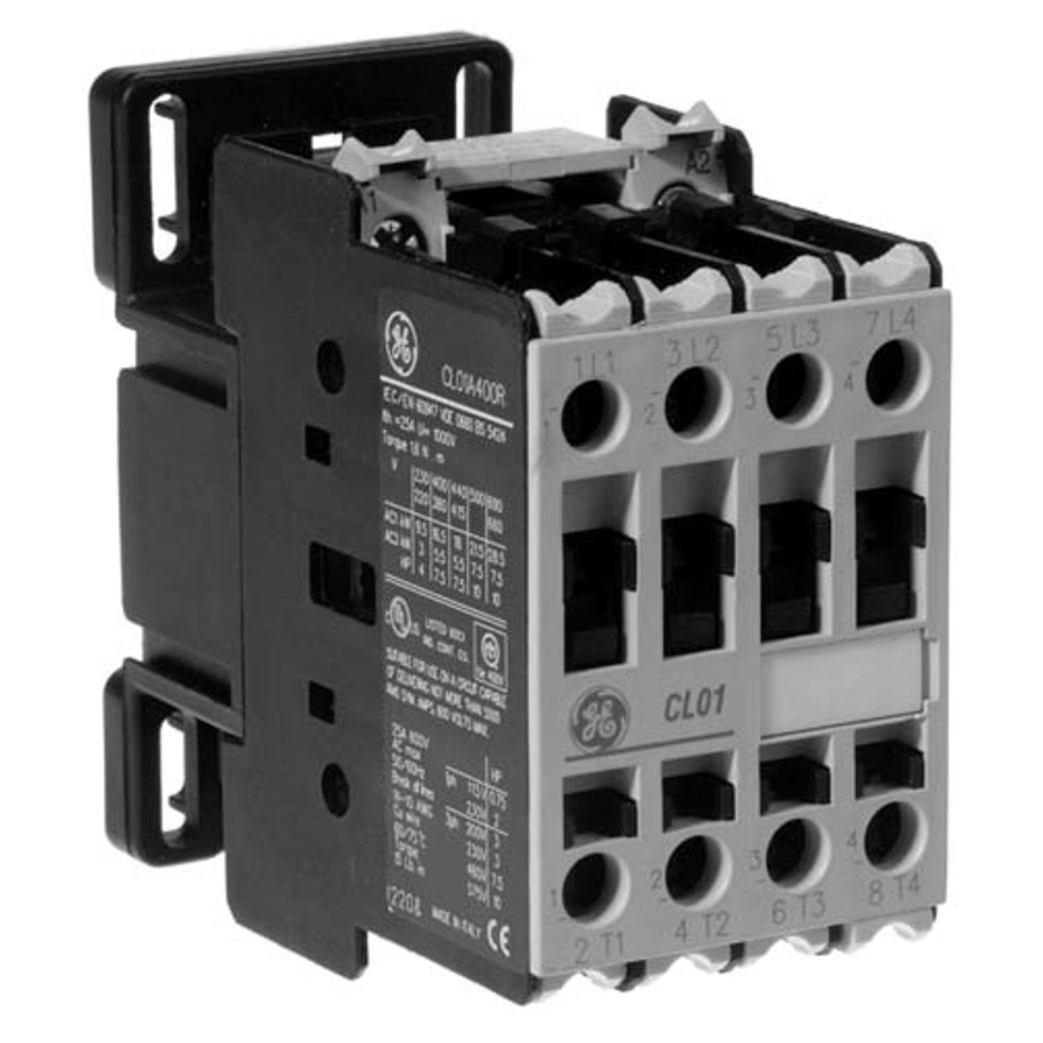 General Electric CL01A310TJ C-2000 Full VoltaGeneral Electric Non-Reversing  IEC Contactor, 110/120 VAC Coil, 13.8 A at 460 VAC, 3NO, 3 Poles