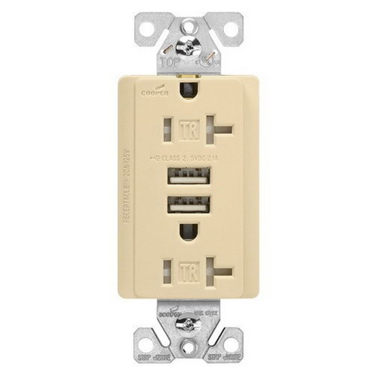 Cooper Wiring Arrow Hart Tr7746v Box Duplex Receptacle And Usb Charger 125 Vac 20 A 5 Vdc 21 2 Poles 3 Wires