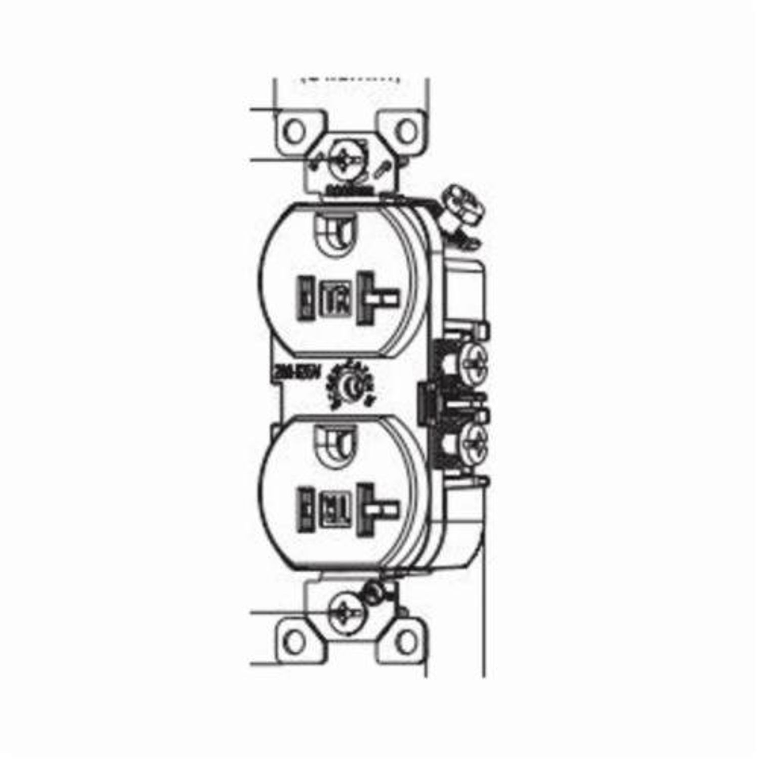 Eaton Wiring Devices Arrow Hart Trcr20gy Straight Blade Duplex Receptacle 125 Vac 20 A 2 Poles 3 Wires Gray
