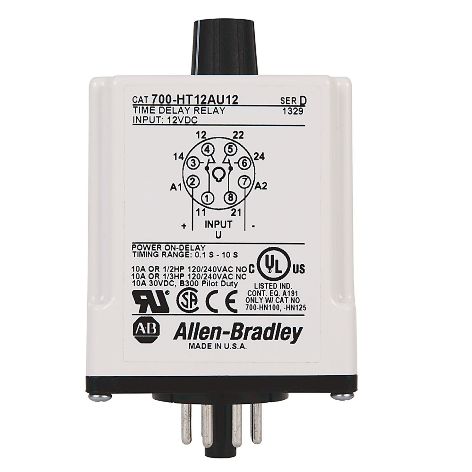 Allen Bradley 700 Ht General Purpose Tube Base Timing Relay Off On Delay Timer 10 To 100 Seconds Dpdt 120v Ac Dc