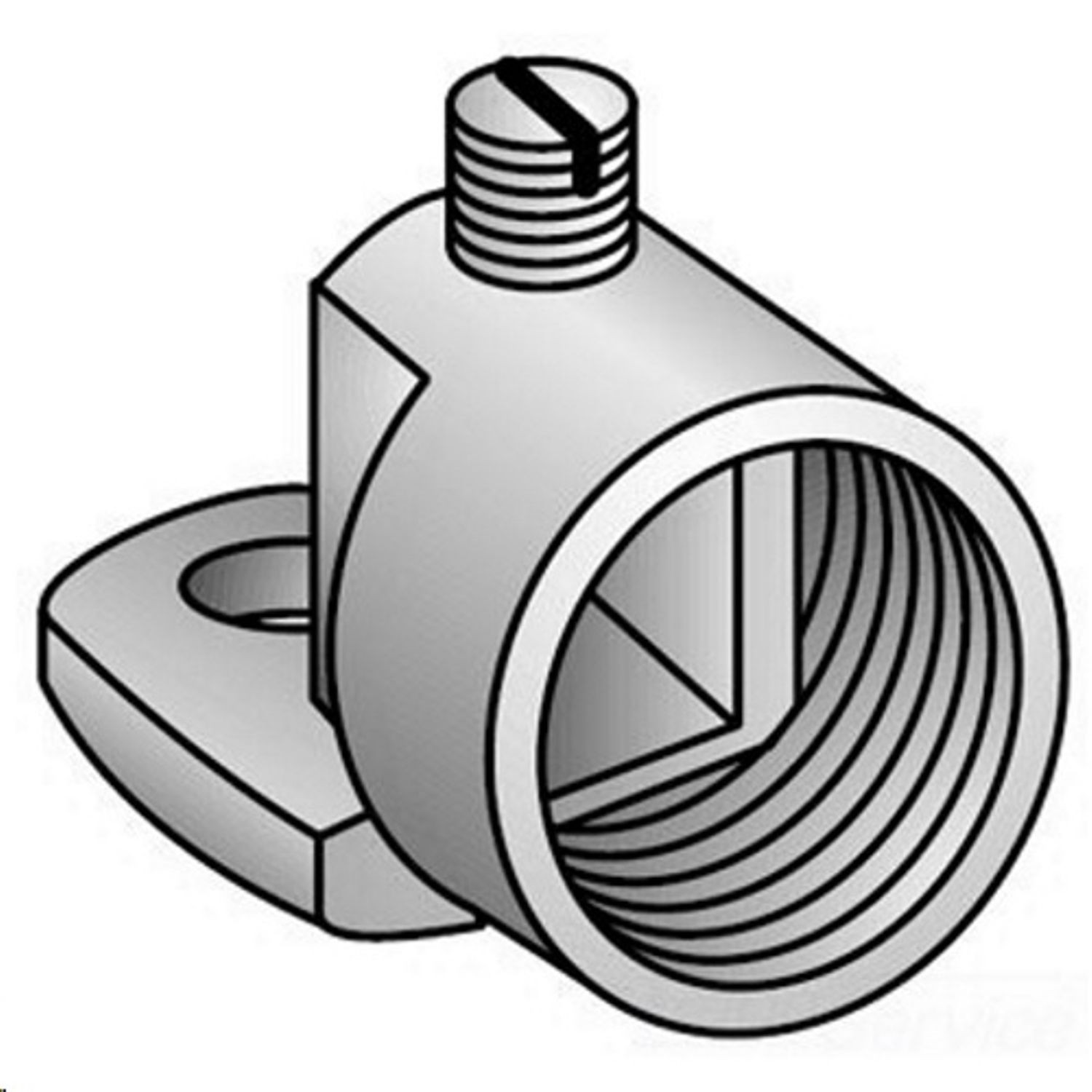 4 to 2//0 AWG Conductor Malleable Iron O-Z//Gedney GH-75G Swivel Grounding Hub 3//4 in Trade