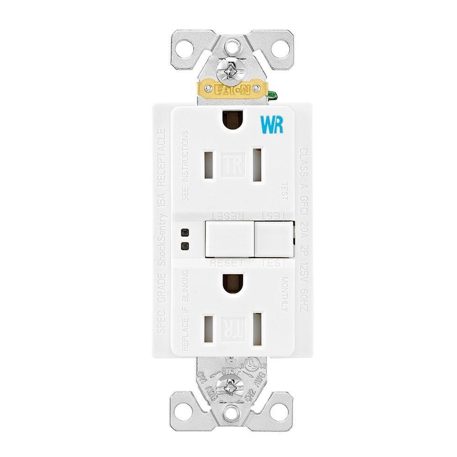 Cooper Wiring Twrsgf15w Duplex Gfci Receptacle 125 Vac 15 A 2 Poles 3 Wires White