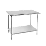 "Advance Tabco AG-3610 Work Table, 120""W x 36""D, 16 gauge 430 series stainless steel top, 18 gauge galvanized adjustable undershelf, galvanized legs with"