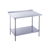 "Advance Tabco SFG-3012 Work Table, 144""W x 30""D, 16 gauge 430 series stainless steel top with 1-1/2""H rear upturn, 18 gauge stainless steel adjustable"