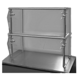 "Advance Tabco NDSG-12-84 Sleek Shield Food Shield, self service, double tier, 84""W x 12""D x 26H, with stainless steel top shelf, 1/4"" thick heat"