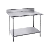 "Advance Tabco KAG-3610 Work Table, 120""W x 36""D, 16 gauge 430 series stainless steel top with 5""H backsplash, 18 gauge galvanized adjustable undershelf"