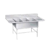 "Advance Tabco K7-3-3024-24RL Super Size Fabricated Sink, 3-compartment, with left & right-hand drainboards, 24"" front-to-back x 30""W sink compartment, 14"""