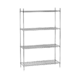 "Advance Tabco ECC-1460 Shelving Unit, wire, 60""W x 14""D x 74""H, includes: (4) shelves & (4) post with adjustable feet, chrome finish, NSF, KD"