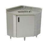 "Advance Tabco SHK-2441 Sink Cabinet, corner design, 16"" x 20"" x 12"" deep sink, extended ""D"" faucet & basket drain, sides are 24"" deep with mitered front"