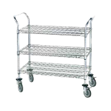 "Advance Tabco WUC-1842R Wire Utility Cart, heavy duty, (3) shelves, shelf size approximately 42""W x 18""D, 38""H, chrome plated, (4) swivel rubber casters"