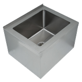 "Advance Tabco 9-OP-40 Mop Sink, floor mounted, 25""W x 21""D x 16""H (overall), 20""W x 16"" front-to-back x 12"" deep (bowl size), free flow drain with 2"" IPS"