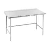 "Advance Tabco TSFG-3011 Work Table, 132""W x 30""D, 16 gauge 430 series stainless steel top with 1-1/2"" rear upturn, stainless steel legs with stainless"