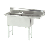 "Advance Tabco FC-2-2424-18R-X Fabricated NSF Sink, 2-compartment, 18"" right drainboard, bowl size 24"" x 24"" x 14"" deep, 16 gauge 304 series stainless"
