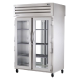 TRUE STG2RPT-2G-2G-HC SPEC SERIES Pass-thru Refrigerator, two-section, stainless steel front, aluminum sides, (2) glass doors front & rear with