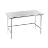 "Advance Tabco TGLG-485 Work Table, 60""W x 48""D, 14 gauge 304 stainless steel top, galvanized legs with center & side crossrails, adjustable plastic bullet"