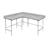 "Advance Tabco KTMS-306 Work Table, L-shaped, 72""W x 30""D & 60""W x 30""D (specify left & right sides), 14 gauge 304 series stainless steel top with 5""H"