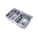 "Advance Tabco SS-2-3321-10 Smart Series Drop-In Sink, 2-compartment, 14"" wide x 16"" front-to-back x 10"" deep each/bowl, 18 gauge 304 series stainless"
