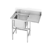 "Advance Tabco 94-61-18-36R Regaline Sink, 1-compartment, with right-hand drainboard, 24"" front-to-back x 18""W sink compartment, 14"" deep, with 11""H"