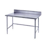"Advance Tabco TKAG-2410 Work Table, 120""W x 24""D, 16 gauge 430 stainless steel top with 5""H backsplash, galvanized legs with side & rear crossrails"