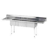 "Advance Tabco FE-3-1812-18RL-X Special Value Fabricated Nsf Sink, 3-Compartment, 18"" Right & Left Drainboards, Bowl Size 18"" X 18"" X 12"" Deep"