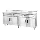 "Advance Tabco HDRC-306 Storage Cabinet, 72""W x 30""D, 14 gauge 304 stainless steel top with 5""H backsplash, (2) fully enclosed NSF drawers, enclosed"