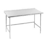"Advance Tabco TFAG-3612 Work Table, 144""W x 36""D, 16 gauge 430 series stainless steel top with 1-1/2"" rear upturn, galvanized legs with galvanized side"