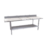 "Winholt DPTSB-3048 Work Table, 48""W x 30""D x 34""H, 5/8"" poly top with 16/304 stainless steel top frame, rear backsplash, fixed 18 gauge stainless"