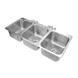 "Advance Tabco DI-3-1612 Drop-In Sink, 3-compartment, 16"" wide x 20"" front-to-back x 12"" deep each/bowl, 18 gauge 304 series stainless steel, deck mounted"