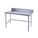 "Advance Tabco TSKG-3612 Work Table, 144""W x 36""D, 16 gauge 430 stainless steel top with 5""H backsplash, stainless steel legs with side & rear crossrails"