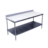 "Advance Tabco SPS-307 Poly-Top Work Table, 84""W x 30""D, 5/8"" thick Poly-Vance top with 6""H stainless steel backsplash, adjustable stainless steel"