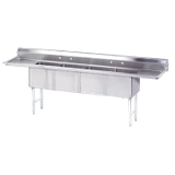 "Advance Tabco FC-4-1824-18RL-X Fabricated NSF Sink, 4-compartment, 18"" right & left drainboards, bowl size 18"" x 24"" x 14"" deep, 16 gauge 304 series"