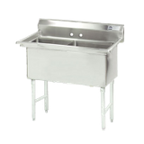 "Advance Tabco FS-2-1818 Fabricated NSF Sink, 2-compartment, no drainboards, bowl size 18"" x 18"" x 14"" deep, 14 gauge 304 series stainless steel, tile edge"