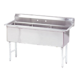 "Advance Tabco FS-3-2424 Fabricated NSF Sink, 3-compartment, no drainboards, bowl size 24"" x 24"" x 14"" deep, 14 gauge 304 series stainless steel, tile edge"