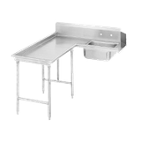 "Advance Tabco DTS-G30-48L Island-Soil Dishtable, L-shaped, left-to-right, 10-1/2""H backsplash one side, with pre-rinse sink, stainless steel legs with"