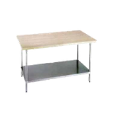 "Advance Tabco H2G-248 Maple Top Work Table, 96""W x 24""D, 1-3/4"" thick laminated hard maple wood top, galvanized adjustable undershelf, galvanized legs"