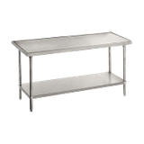 "Advance Tabco VLG-366 Work Table, 72""W x 36""D, 14 gauge 304 series stainless steel top, with countertop non drip edge, adjustable galvanized undershelf"