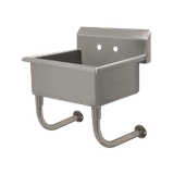 "Advance Tabco FS-WM-2721 Service Sink, Wall Mounted, 27"" L, 21-1/2"" W, 12"" deep bowl, 14 ga stainless steel 8-1/2"" backsplash, 8"" faucet holes on center"