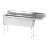 "Advance Tabco FC-3-1515-15R-X Fabricated NSF Sink, 3-compartment, 15"" right drainboard, bowl size 15"" x 15"" x 14"" deep, 16 gauge 304 series stainless"