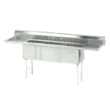 "Advance Tabco FC-3-2030-24RL Fabricated NSF Sink, 3-compartment, 24"" right & left drainboards, bowl size 20"" x 30"" x 14"" deep, 16 gauge 304 series"