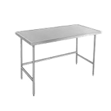 "Advance Tabco TVLG-246 Work Table, 72""W x 24""D, 14 gauge 304 series stainless steel top with countertop non drip edge, galvanized legs with side & rear"