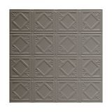 Tin Plated Stamped Steel Ceiling Tile | Lay In | 2ft Sq | Silver Grey Finish