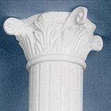 "White Decorative Modified Corinthian Capital for 10"" Diameter Classic Aluminum Round Fluted Column"