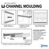 1/2in | White Aluminum No Bow Shelf U Channel Moulding | 8ft Length