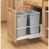 Pull Out Waste Container With 2   35 Quart Metallic Slv Cont