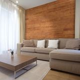 "5-1/8"" Wide x 3/16"" Thick x 46-1/2"" Length Amber Finish Pine Planks Wood Wallscapes Wallcovering"