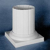 "White Standard Capital or Base for 8"" Diameter Classic Aluminum Round Fluted Column"