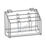 "Slatwall 3 Tier 9 Pocket Lit. Holder For 4"" X 9"""