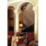 "10' High x 8"" Diameter Paint Grade Wood Tapered Fluted Colonial Column with Polyurethane Scamozzi Capital and Base"