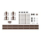 (2) 5ft Top Mount | Furniture Sliding Barn Door Hardware Kit for 2 Doors Up to 15in W | Oil Rubbed Bronze Powder Coated Finish