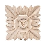Hand Carved Unfinished | Solid North American Hardwood | Rosette Applique | RWC01 Series